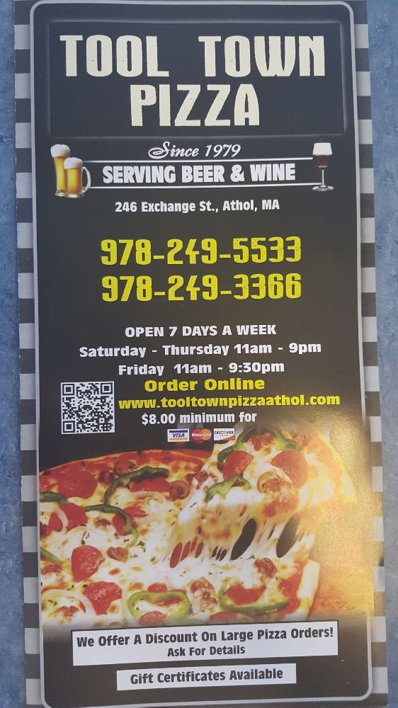 Tool Town Pizza: 246 Exchange St, Athol, MA