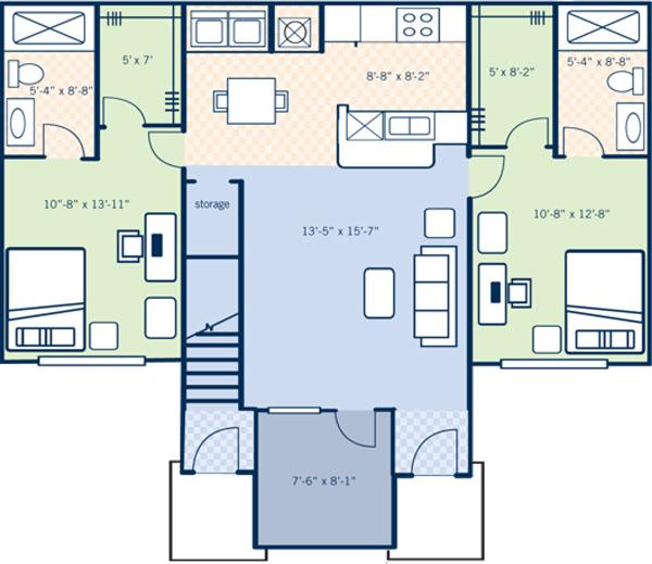 Magnolia Park Apartments: 4 Bedroom 4 Bath Floor Plan Approx. 1571 SQ.FT