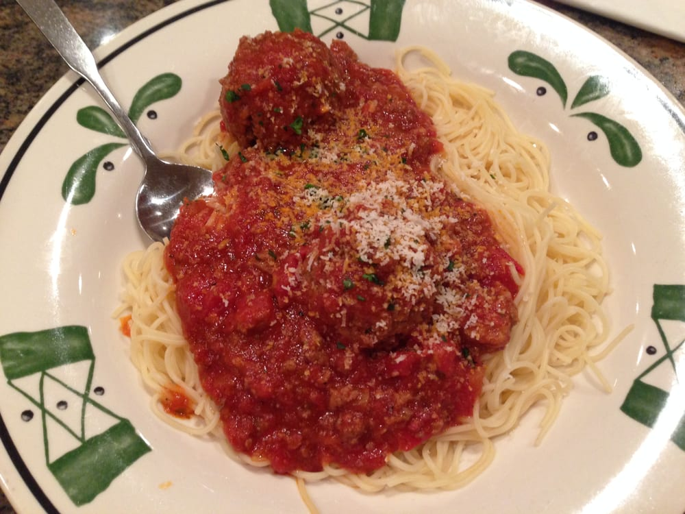 Angel hair pasta with meat sauce and meatballs yelp - Olive garden spaghetti and meatballs ...