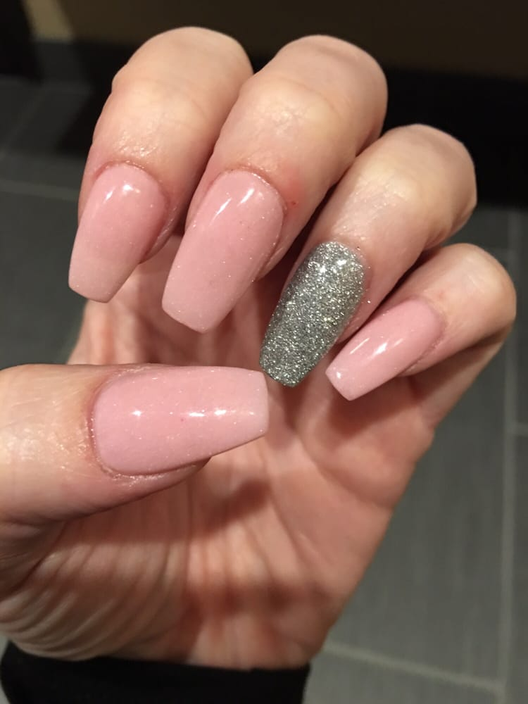 My Pink And Silver Sns Coffin Nails Done By Danny