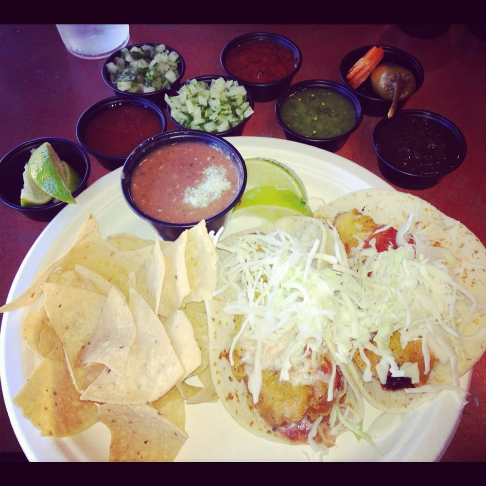 Fish taco plate with 2 fish tacos beans and chips yelp for Rubio s coastal grill the original fish taco