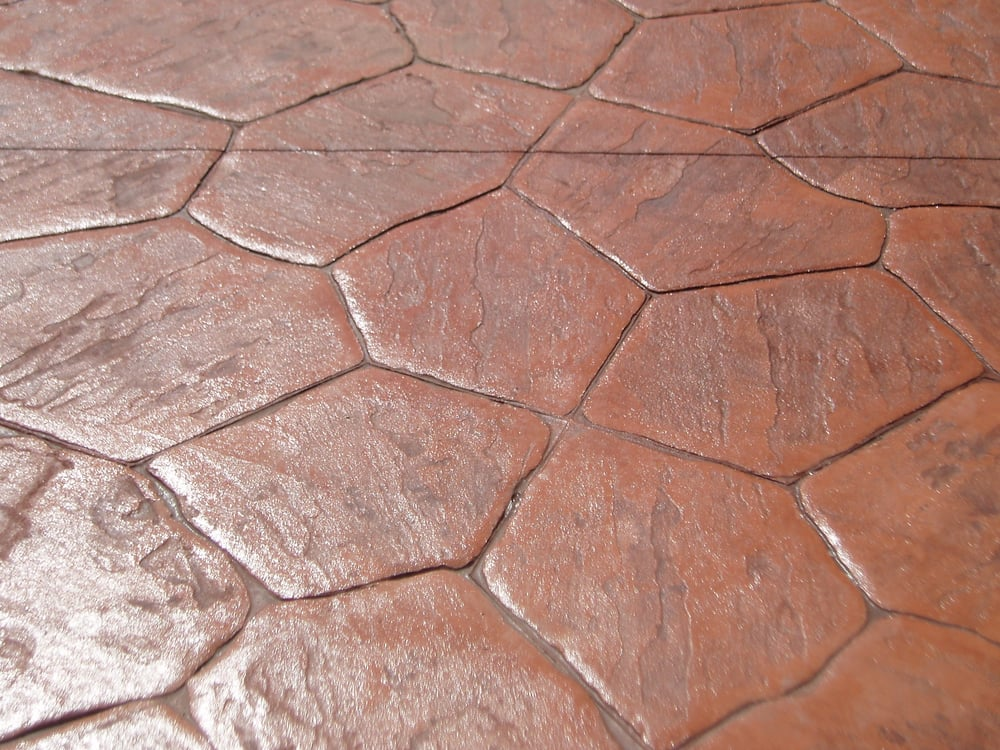 Flagstone Stamped Concrete : Stamped concrete red flagstone style yelp