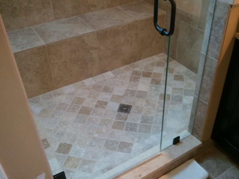 Master bath remodel 3 8 heavy glass shower door 4x4 for 4x4 bathroom ideas