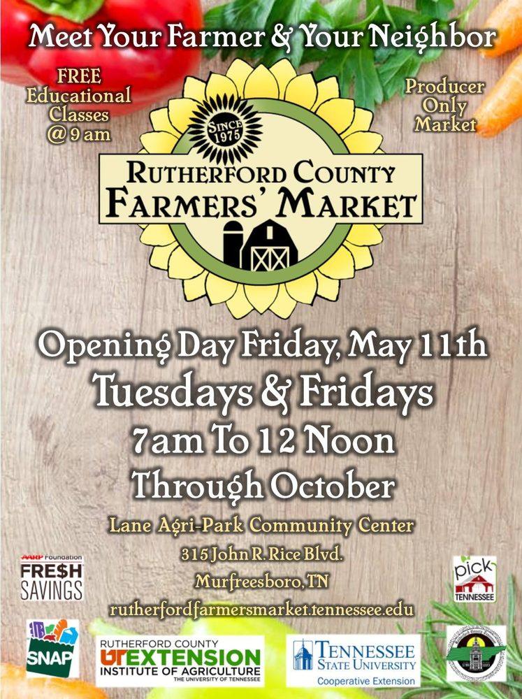 Rutherford County Farmers Market: 315 John R Rice Blvd, Murfreesboro, TN