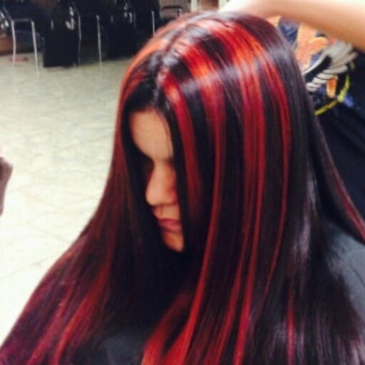 Bright red highlights and cherry cola low lights so goth yelp photo of hair dresser on fire montclair ca united states bright red pmusecretfo Choice Image