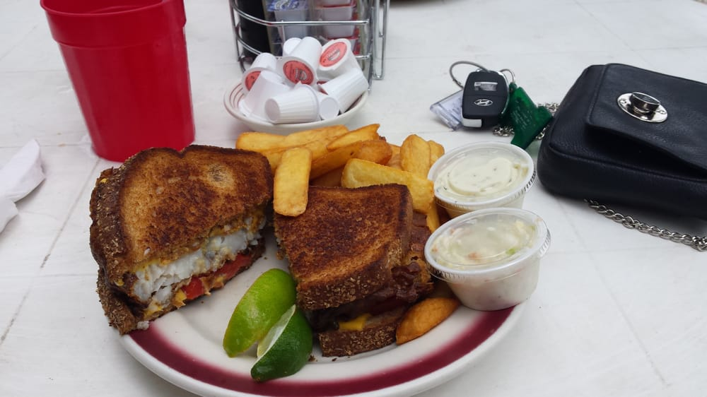 Key largo fish sandwich fried grouper with cheese and for Fried fish sandwich near me