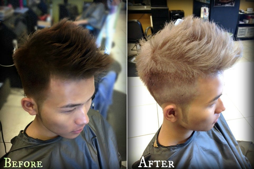 men hair cut amp light up his hair tone from 4 to 12 level