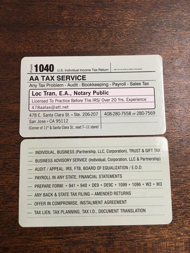 Aa Tax Service Tax Services 478 E Santa Clara St Downtown San