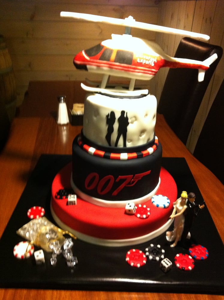 James Bond Theme Grooms Cake The Helicopter Is Edible Yelp