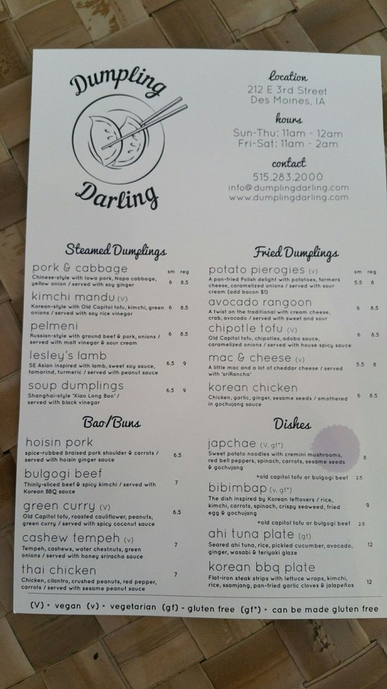 Photo of Dumpling Darling - Des Moines, IA, United States. Front of the menu for Dumpling Darling