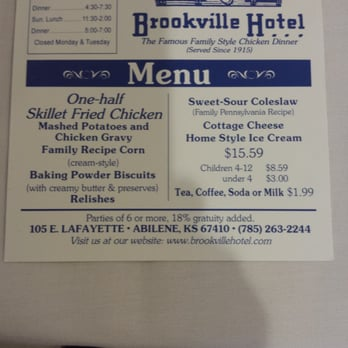 Brookville Hotel Restaurant Recipes