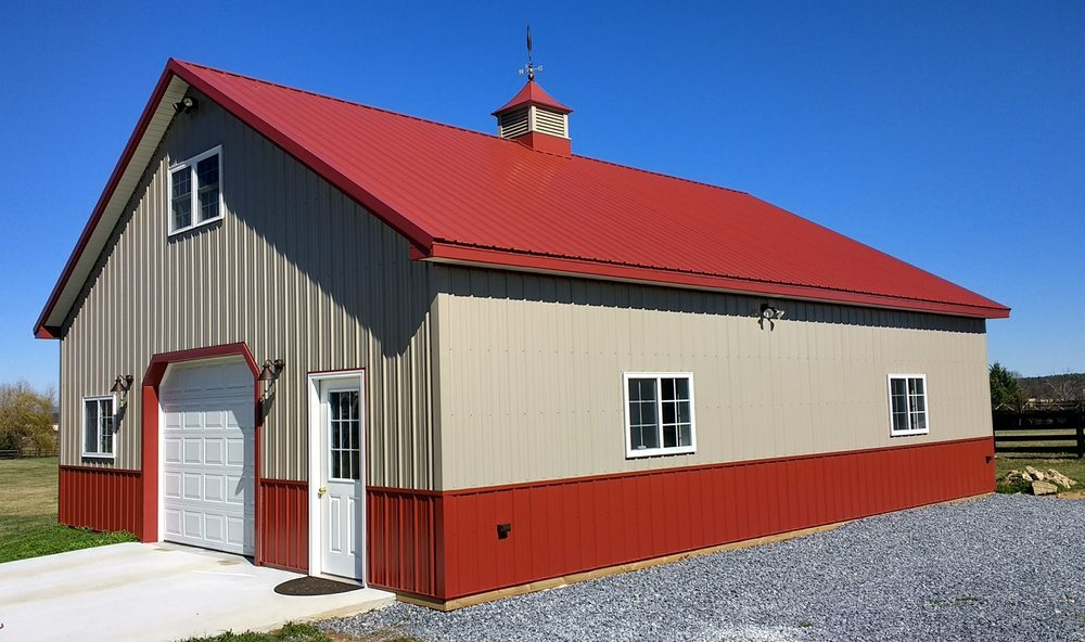32 x 40 x 10 metal pole barn garage yelp for Affordable barns and garages