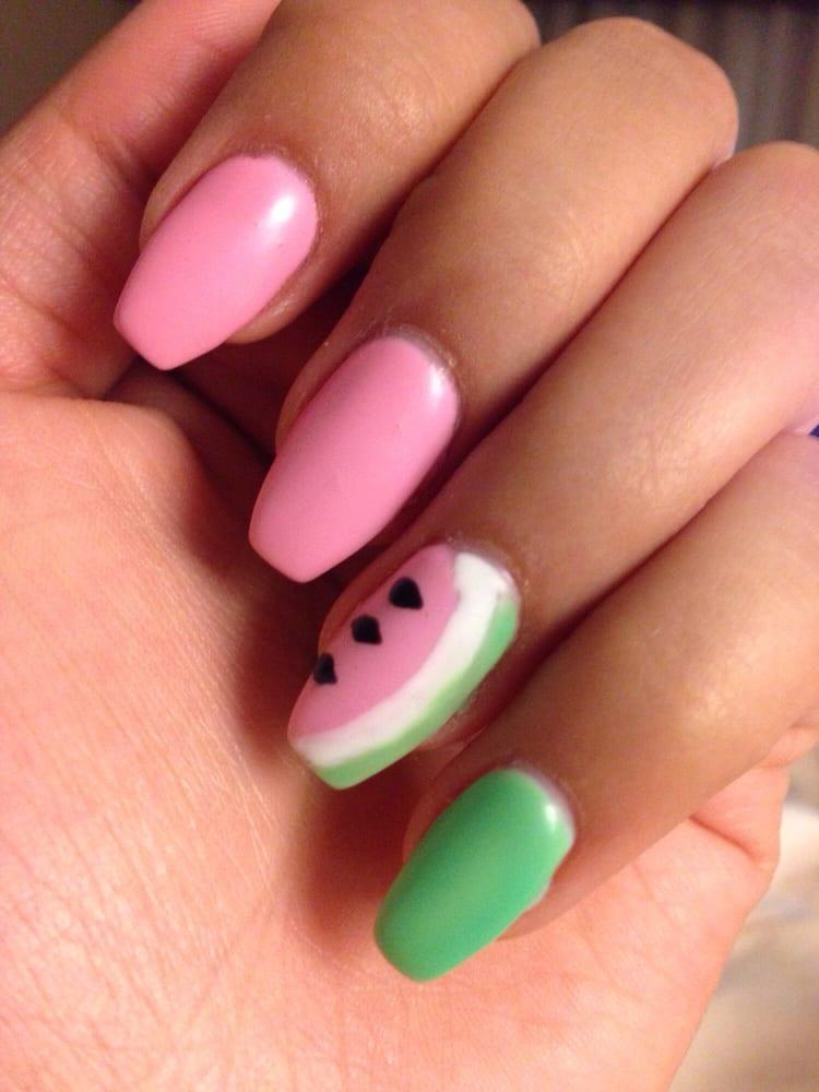 Photo of Athena Nails & Spa - Baltimore, MD, United States. Watermelon nail - Watermelon Nail Design With Ballerina Nails - Yelp
