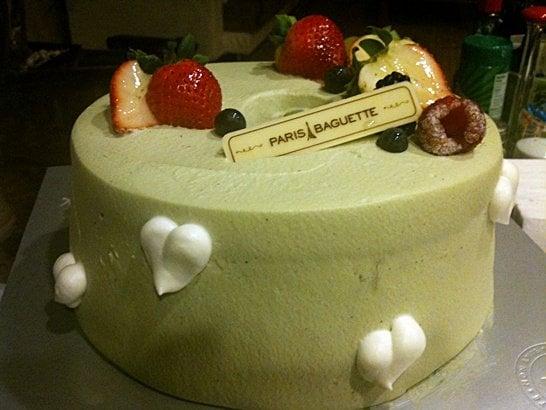 ... birthday cake: green tea chiffon cake. 30 minutes later everything was