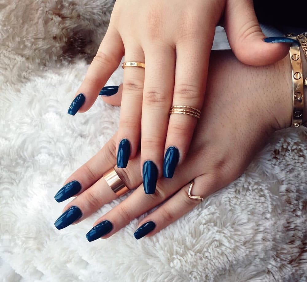 Dark teal coffin nails; UV gels - Yelp