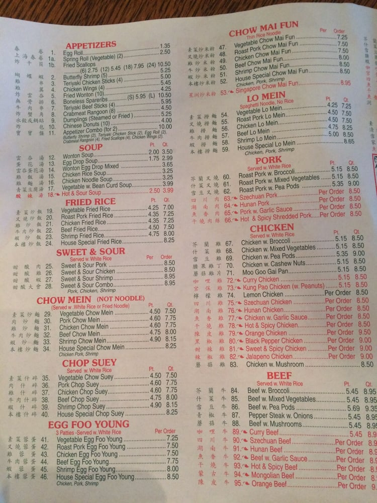 Dragon Restaurant Menu Edgerton Wi