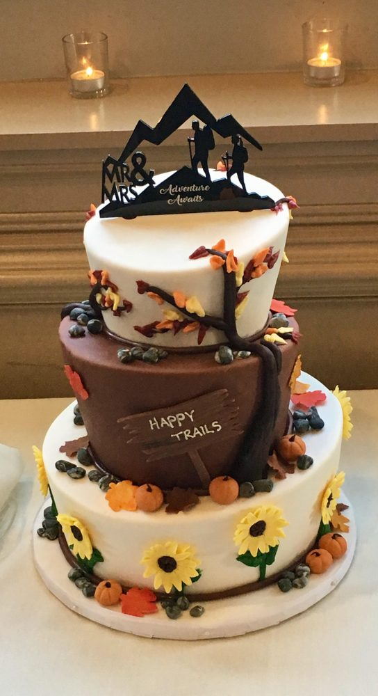 Our Hiking And Fall Themed Wedding Cake Was Exactly What We Hoped