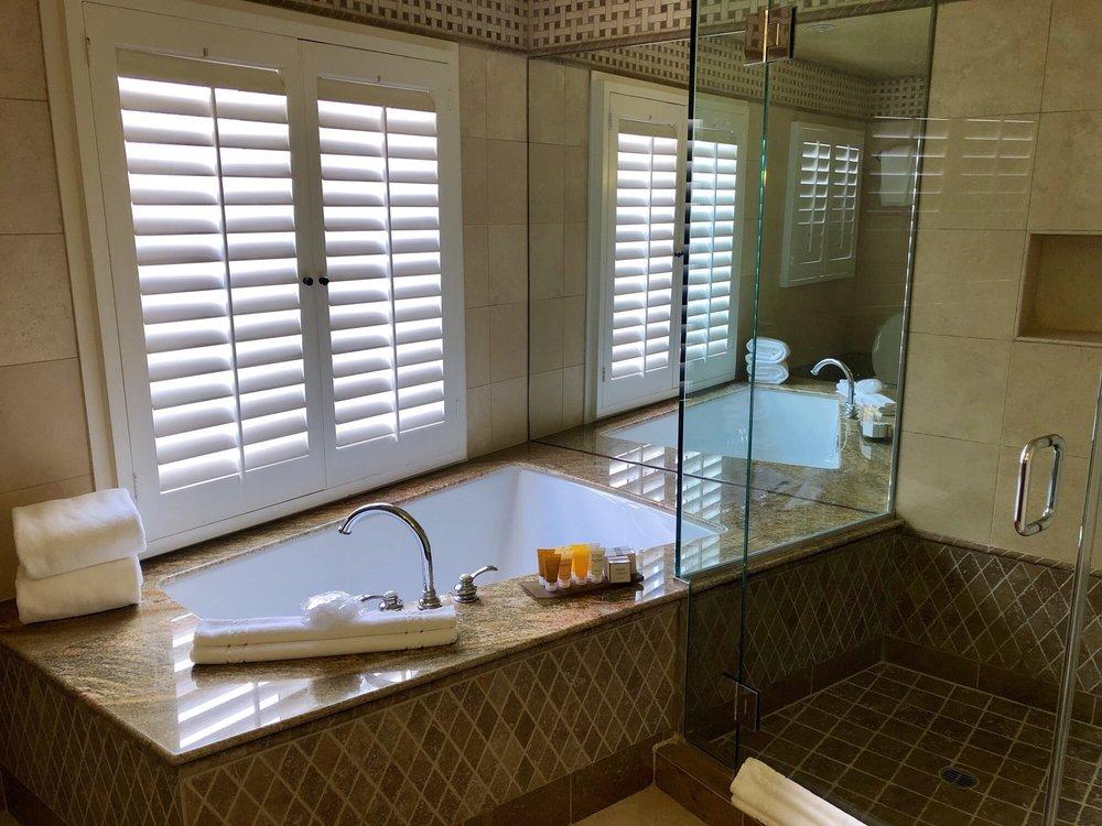 Great bathroom with shower and big bathtub - Yelp