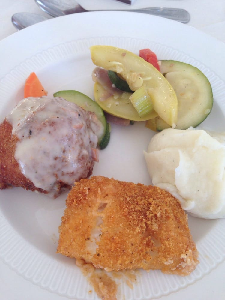 Mashed Potato Dance: Chicken Gordon Bleu, Breaded Scrod, Mixed Vegetables, And
