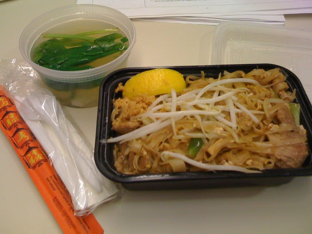 Lunch special pad thai w pork clear chicken soup 8 for 22 thai cuisine new york ny