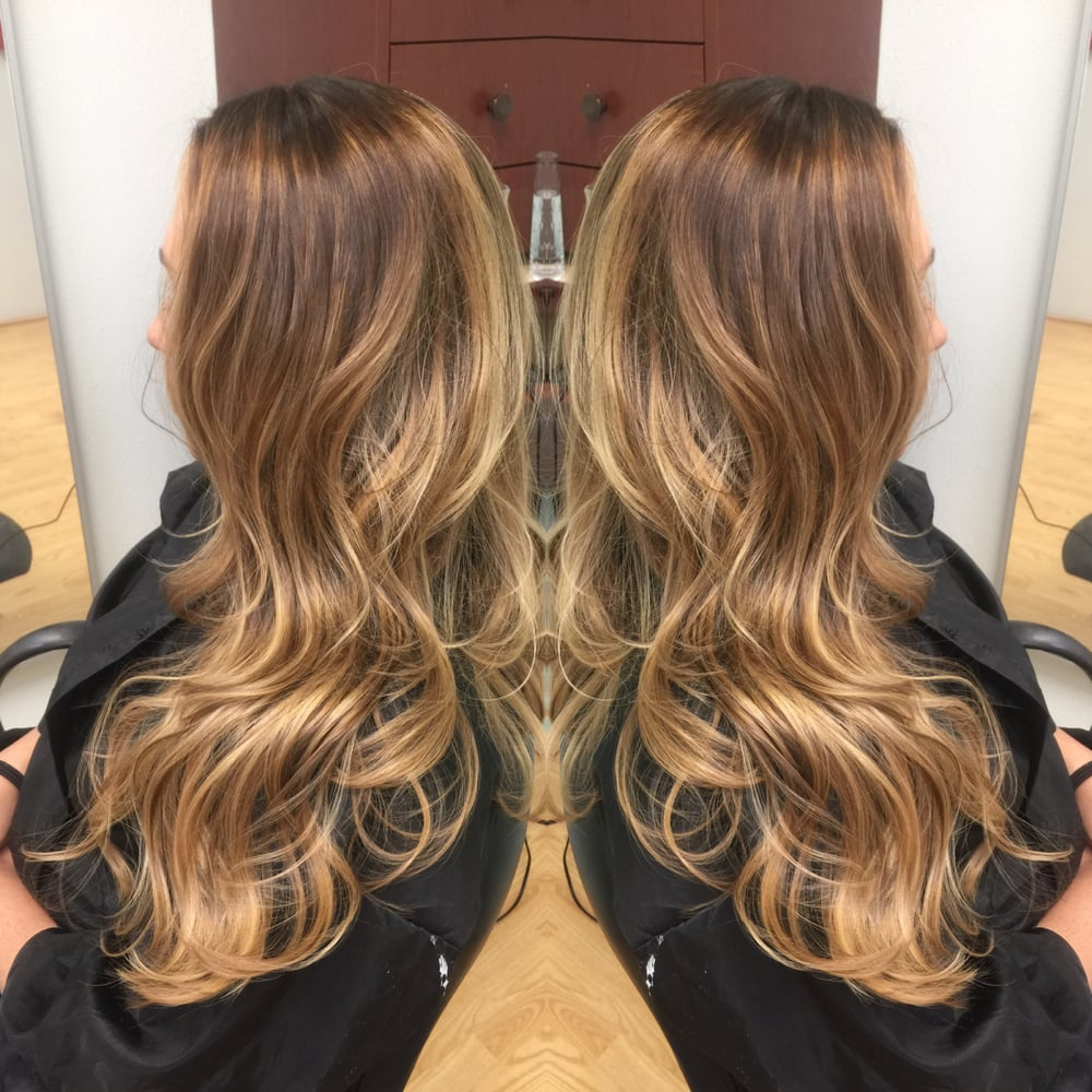Dark Warm Blonde Base With Carmel And Bright Golden Blonde Balayage