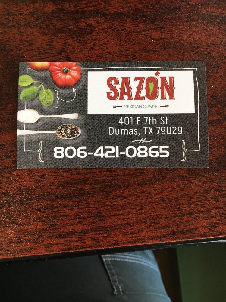 Sazon Mexican Cuisine: 401 E 7th St, Dumas, TX
