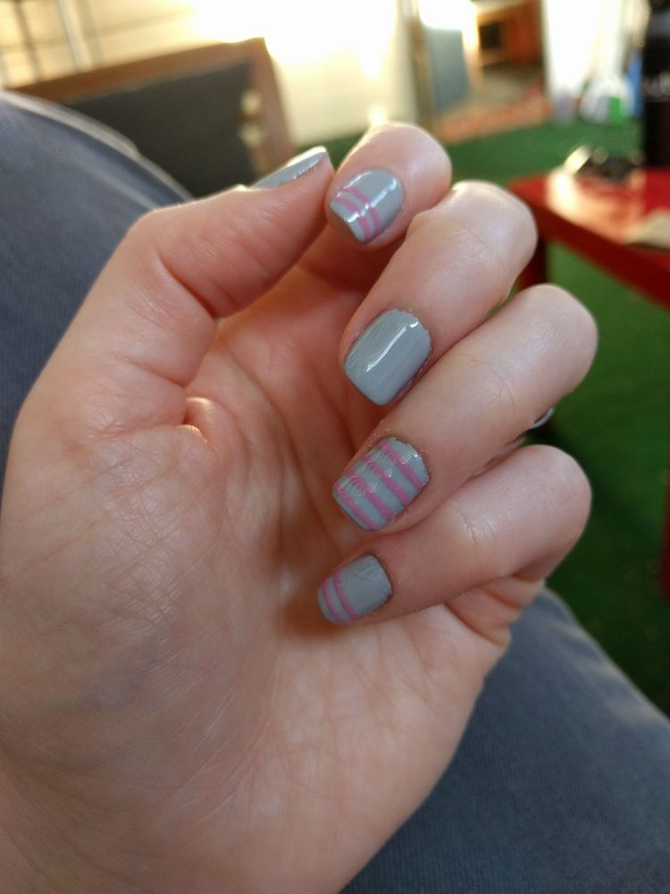 Grey and pink nails by Kamille - Yelp