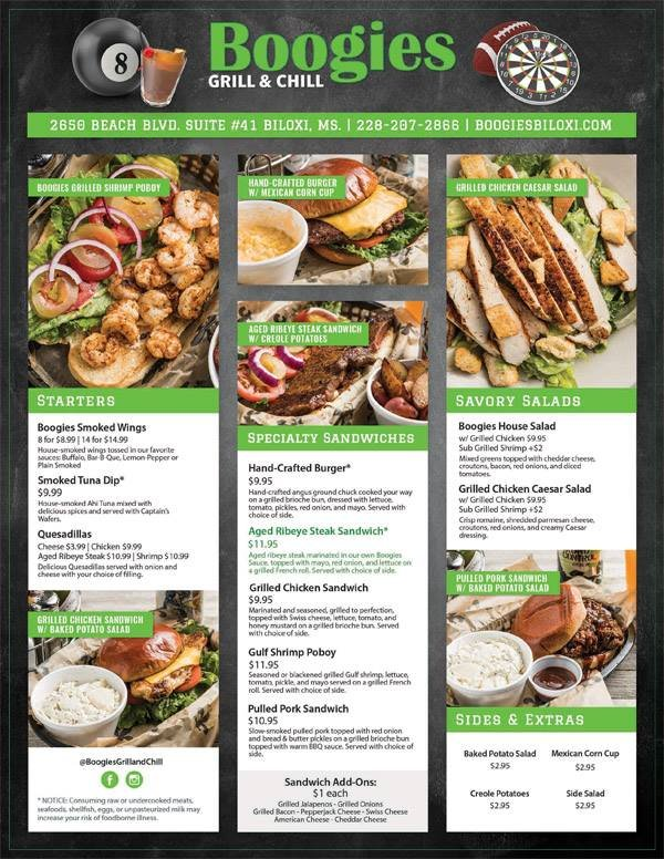 Online Menu Of Boogies Restaurant Biloxi Mississippi 39531 Zmenu