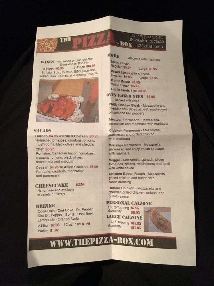 Online Menu Of The Pizza Box Restaurant Kingsland Texas