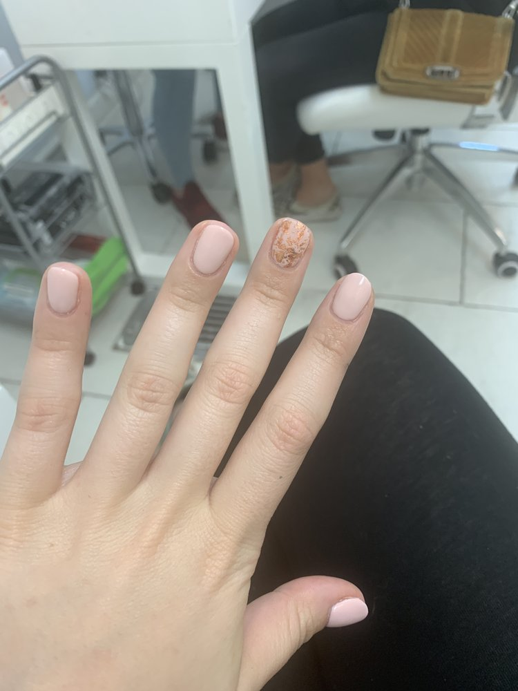 Classic gel mani with rose gold flakes - Yelp