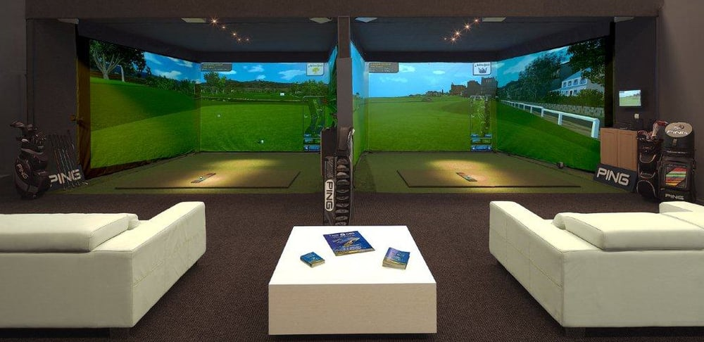 3 screen golf simulator golf room man cave golf for Interior design room simulator
