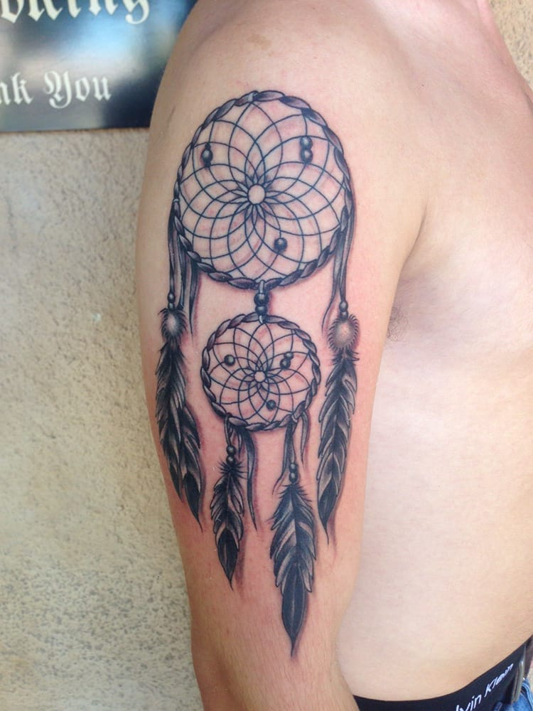Ornate soft black and grey dream catcher by mark walters for Living canvas tattoo tempe