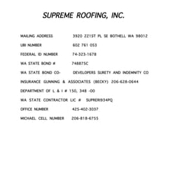 Photo Of Supreme Roofing   Bothell, WA, United States. Company License  Information