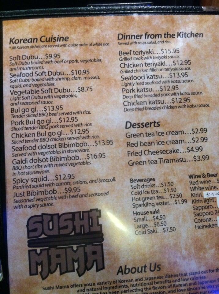 Sushi Mama Virginia Beach Va Menu