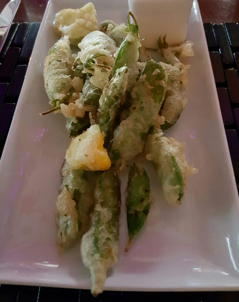 snap pea tempura with sweet chili sauce. knocked it out of the