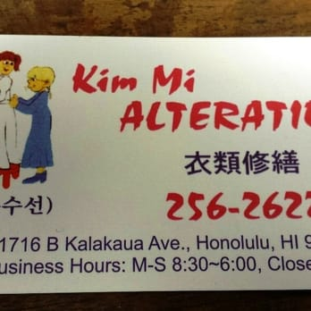 Kim mi alterations sewing alterations 1575 south beretania st photo of kim mi alterations honolulu hi united states her business card reheart Gallery