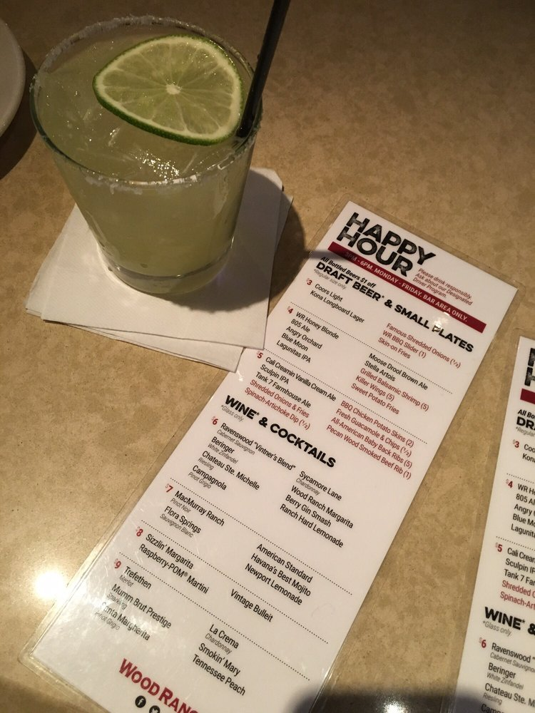 Photo of Wood Ranch BBQ & Grill - Northridge, CA, United States. Woodranch - Woodranch Margarita $6 Happy Hour (HH Menu Pictured Here...drinks