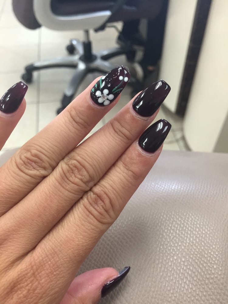 yasssss! coffin nails with a deep purple for that fall look, with a ...