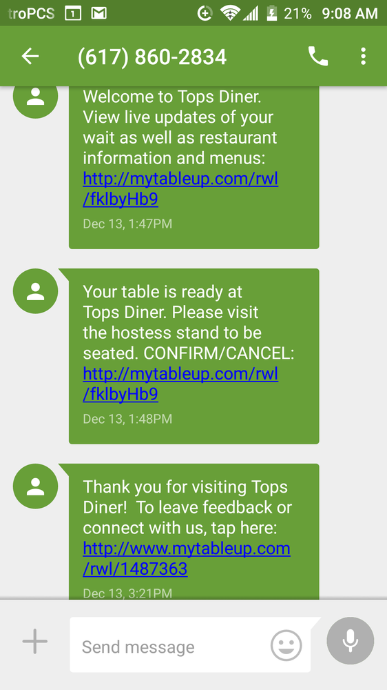 Tops diner text messages to welcome guest  Your table is