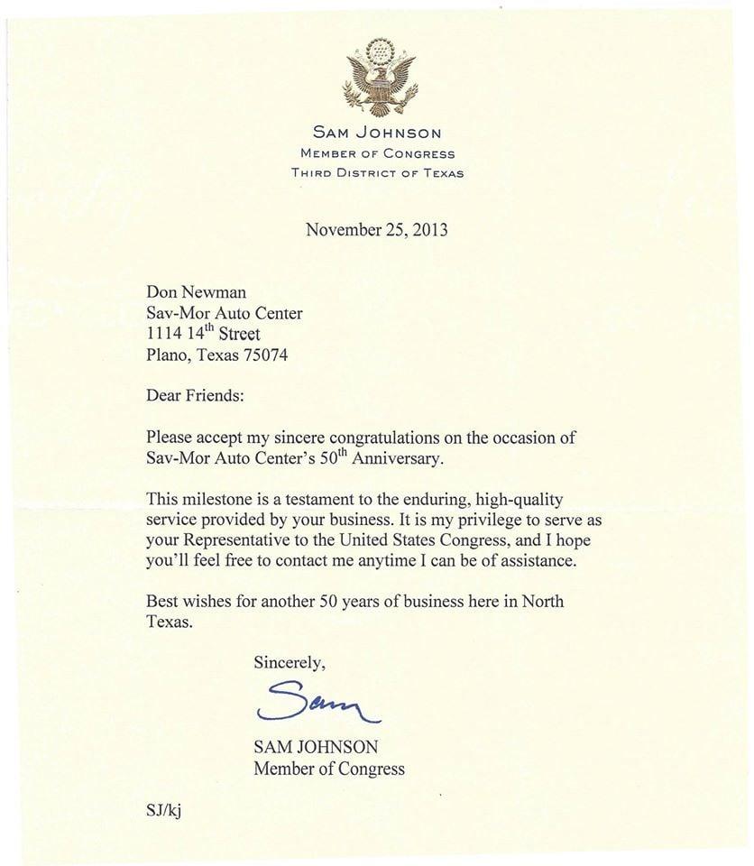 50th Anniversary Congratulatory Letter.