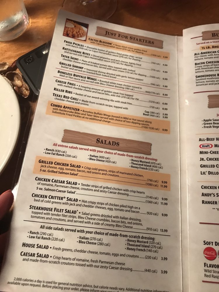 Menu Of Texas Roadhouse Restaurant