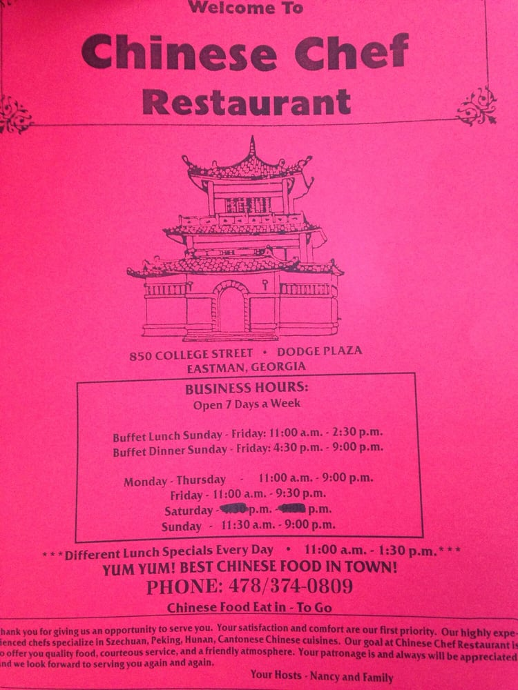 Chinese Chef Restaurant: 850 College St, Eastman, GA