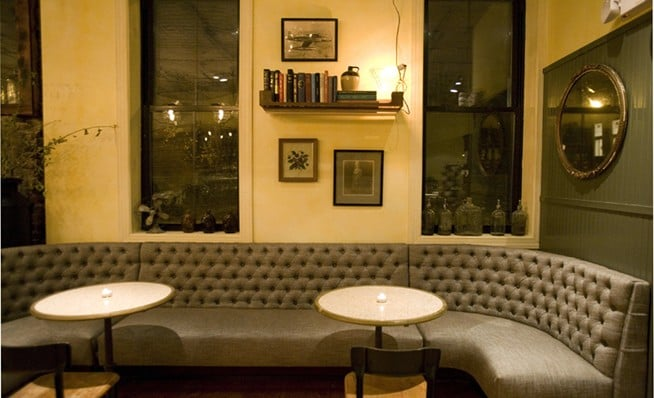 Lounge tufted banquette.   yelp