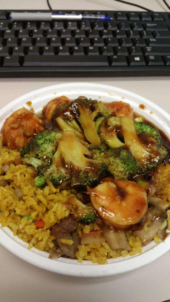 ... Broccoli in Garlic sauce with beef fried rice (rice seemed a little