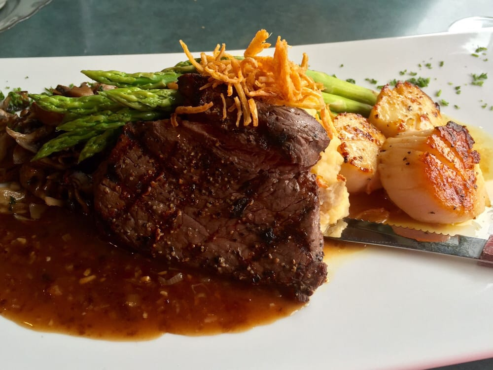 Surf Amp Turf With Steak And Scallops Cafe Garden Yelp