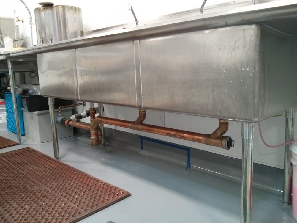 Commercial Three Compartment Sink With Grease Trap