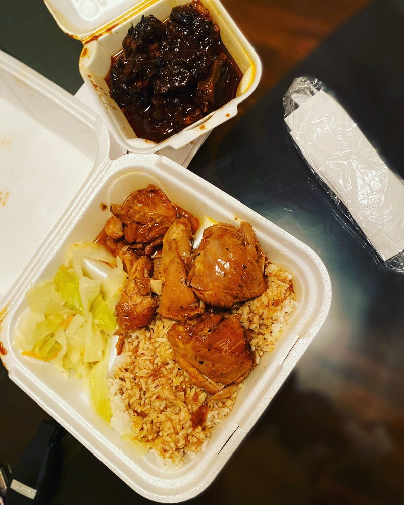 Food from Leon's Caribbean Restaurant