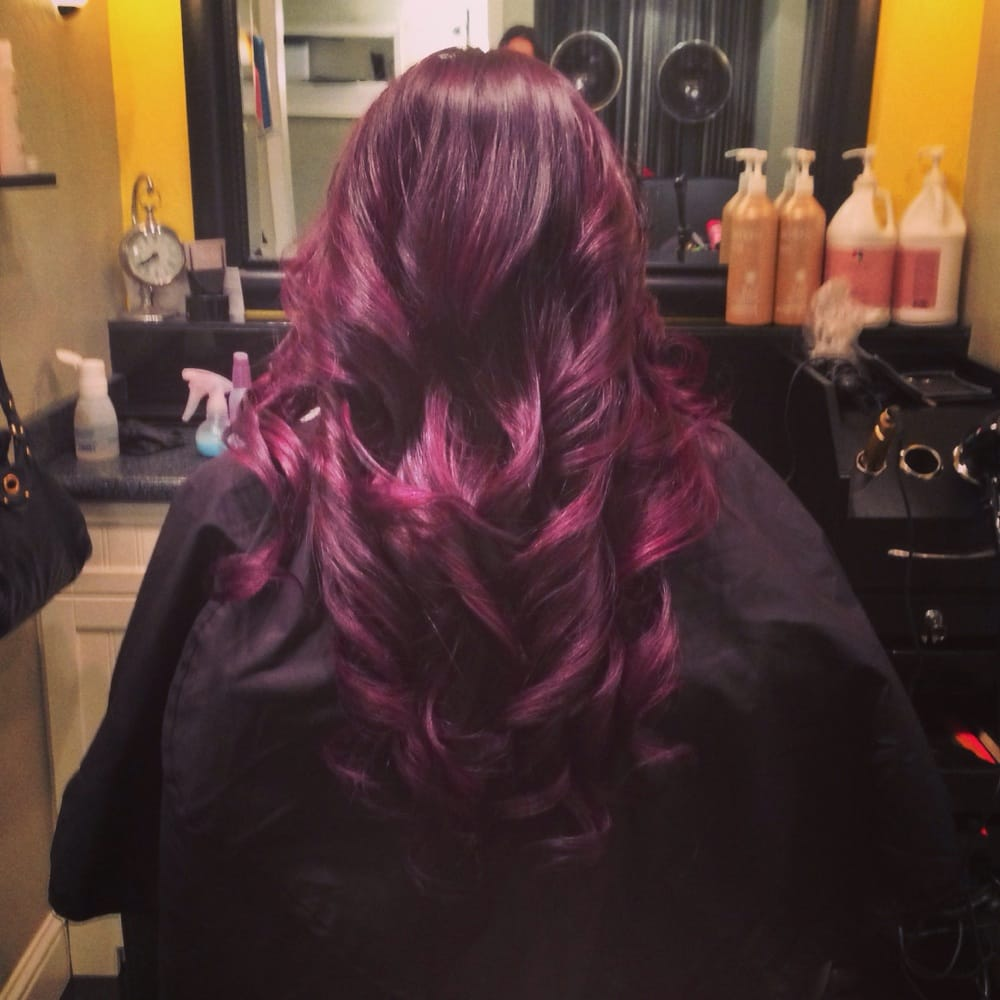 plum color ombr233balayage highlights yelp