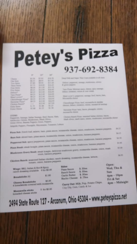 Petey's Pizza & Carry Out: 2494 State Rte 127, Arcanum, OH