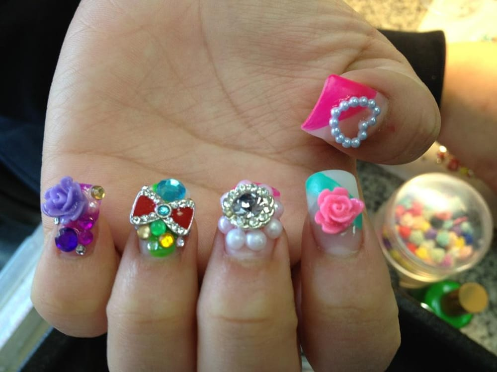 Japanese 3D Nail Art. Bows, Hello Kitty, Pearls, Rhinestones ...
